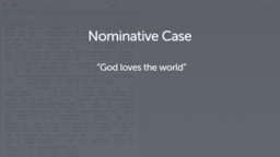 Introducing the Nominative Case
