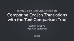 Comparing English Translations with the Text Comparison Tool