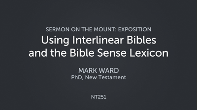 Using Interlinear Bibles and the Bible Sense Lexicon