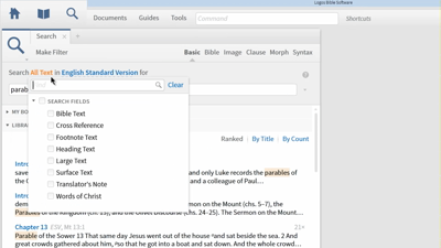 Searching for Parables in the New Testament with Search Fields