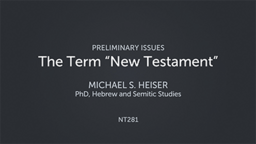 "The Term ""New Testament"""