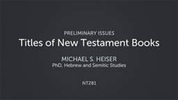Titles of New Testament Books
