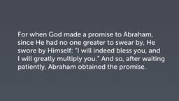 A Stable Faith (Heb 6:13–20)