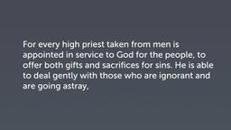 Four Principles of High Priesthood (Heb 5:1–4)
