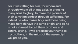 The Son's Incarnation (Heb 2:10–18)