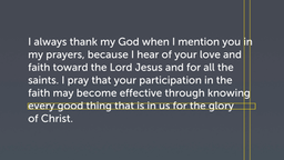 Thanksgiving (Philemon 4–7)
