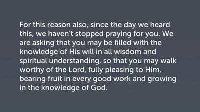 Prayer (Col 1:9–14)
