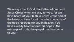 Thanksgiving (Col 1:3–8)