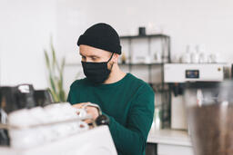 Barista Wearing a Mask and Making Coffee  image 3