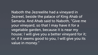 The Monarchy: The Confiscation of Naboth's Vineyard