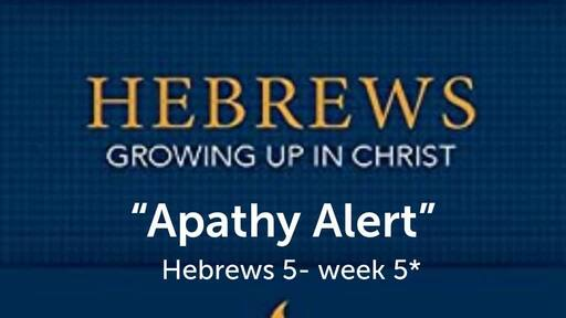 "Hebrews study chapter 5 ""Apathy alert"" sermon"