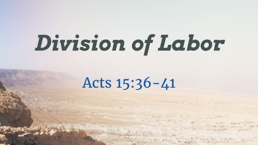 Acts Week 58 - Division of Labor