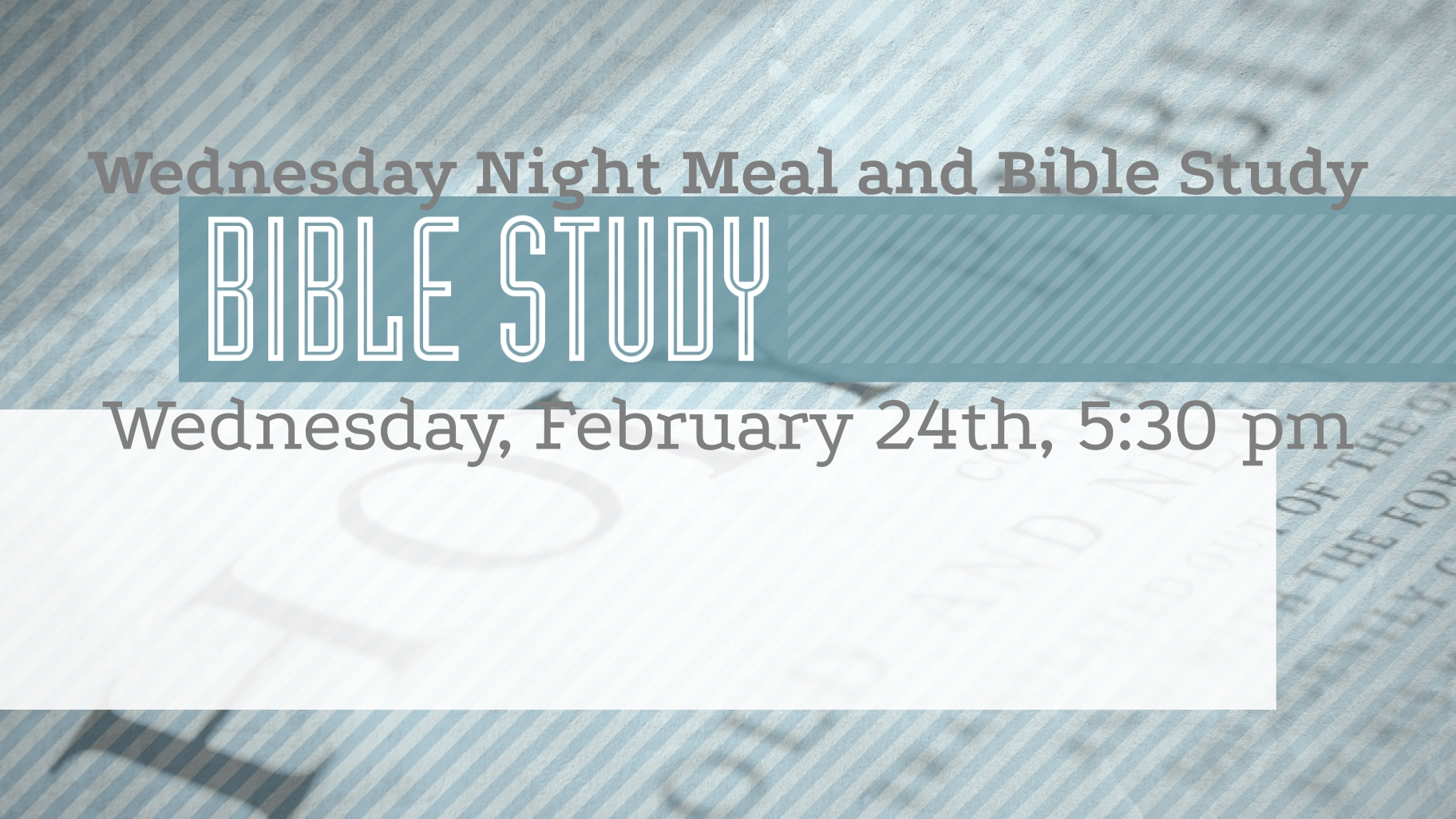 Wednesday Night Meal and Bible Study