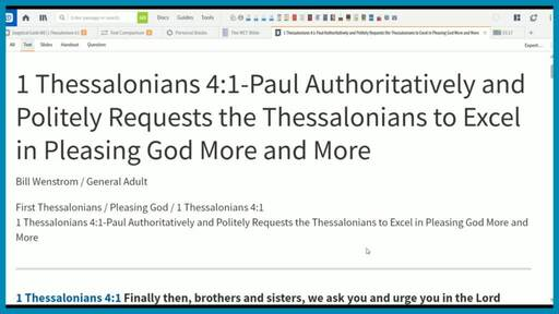 1 Thessalonians 4:1-Paul Authoritatively and Politely Requests the Thessalonians to Excel in Pleasing God More and More