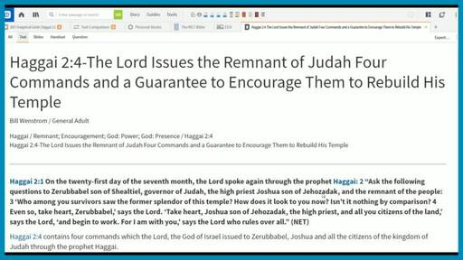 Haggai 2:4-The Lord Issues the Remnant of Judah Four Commands and a Guarantee to Encourage Them to Rebuild His Temple