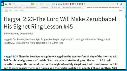 Haggai 2:23-The Lord Will Make Zerubbabel His Signet Ring Lesson #45