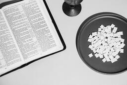 Communion Wafers and Wine with Bible  image 4
