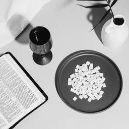 Communion Wafers and Wine with Bible  image 2