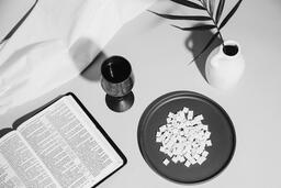 Communion Wafers and Wine with Bible  image 5