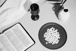 Communion Wafers and Wine with Bible  image 6
