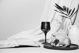 Communion Bread, Wine, Bible and Vase on Table  image 4