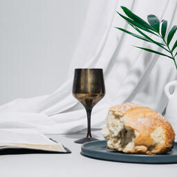 Communion Bread and Wine with Bible  image 7