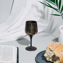 Communion Bread and Wine with Bible  image 1