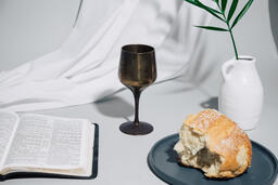 Communion Bread and Wine with Bible  image 4