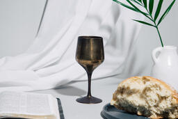 Communion Bread and Wine with Bible  image 2