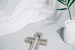 Stone Cross with Vase  image 1