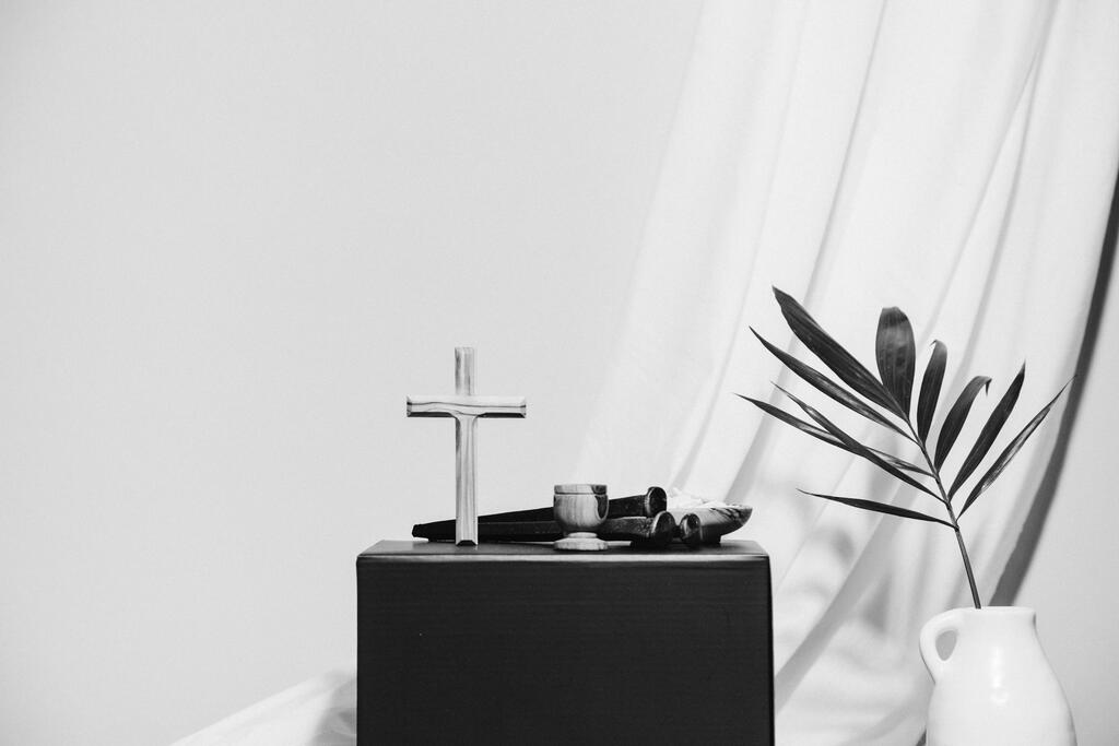 Cross with Communion Wine, Wafers, and Nails large preview