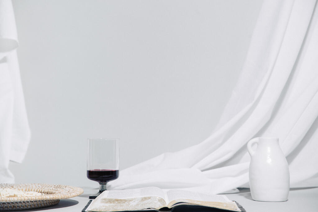 Wafers, Wine, and Bible on Table large preview