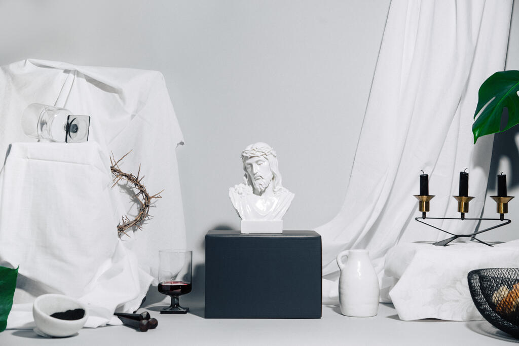 Bust of Jesus Surrounded by Crown of Thorns, Communion Elements, Ashes and Vases large preview