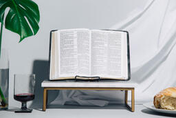 Bible, Communion Wine and Bread  image 1