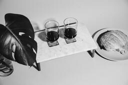 Two Glasses of Communion Wine with Bread  image 1
