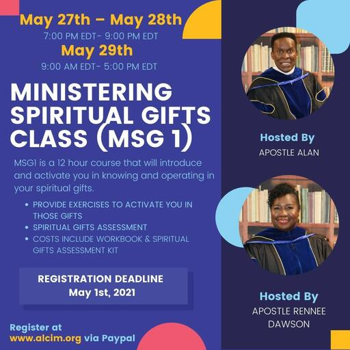 MINISTERING SPIRITUAL GIFTS CLASS (MSG 1)