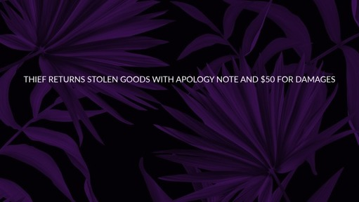 Thief returns stolen goods with apology note and $50 for damages