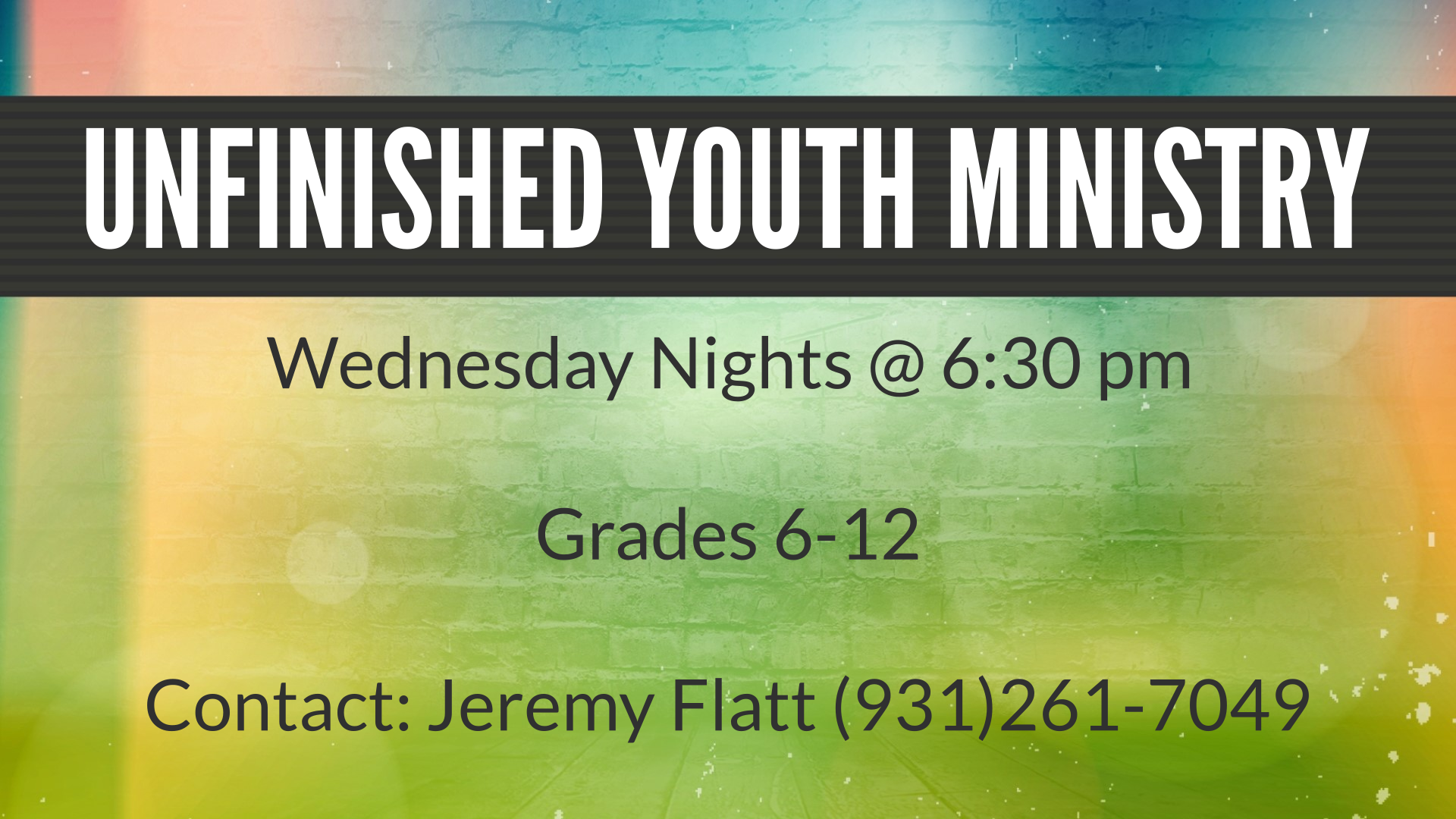 Unfinished Youth Ministry