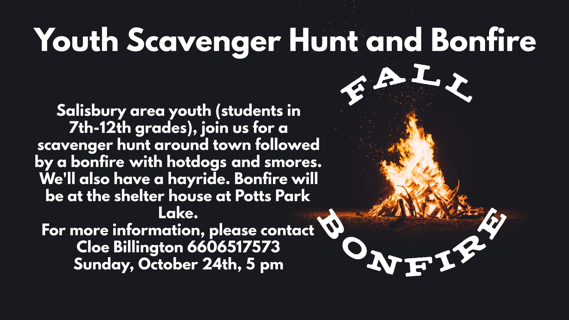 Youth Scavenger Hunt and Bonfire