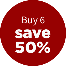Buy 6, save 50%