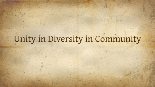 Unity in Diversity in Community