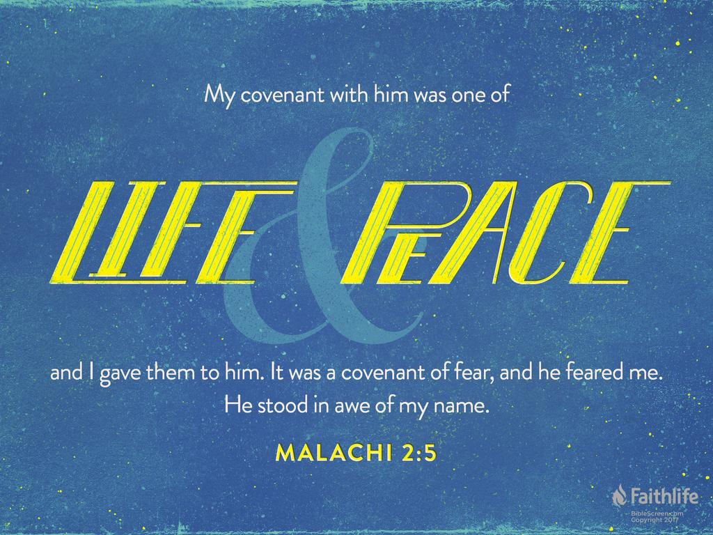 My covenant with him was one of life and peace, and I gave them to him. It was a covenant of fear, and he feared me. He stood in awe of my name.