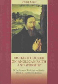 Richard Hooker on Anglican Faith and Worship: Of the Laws of Ecclesiastical Polity: Book V